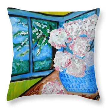 My Grandma S Flowers   Throw Pillow by Ramona Matei
