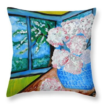 My Grandma S Flowers   Throw Pillow