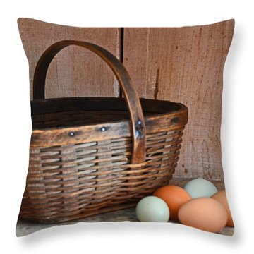 My Grandma's Egg Basket Throw Pillow