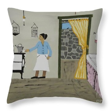 Throw Pillow featuring the painting Coal Miners Wife by Jeffrey Koss