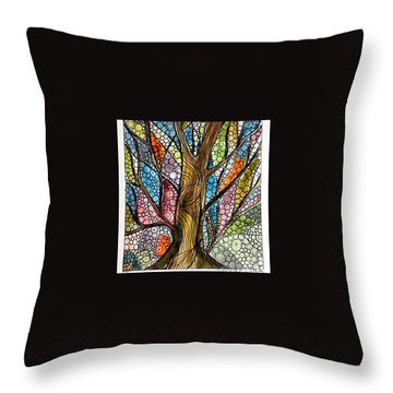 My Happy Watercolor Tree Throw Pillow
