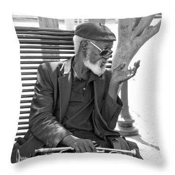 My Horn Throw Pillow by Bill Howard