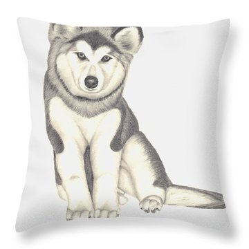 Throw Pillow featuring the drawing My Husky Puppy-misty by Patricia Hiltz