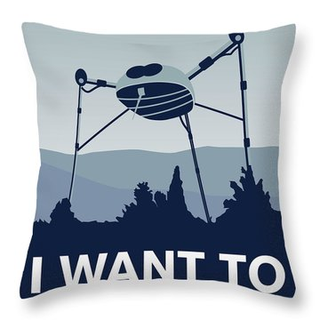 My I Want To Believe Minimal Poster-war-of-the-worlds Throw Pillow