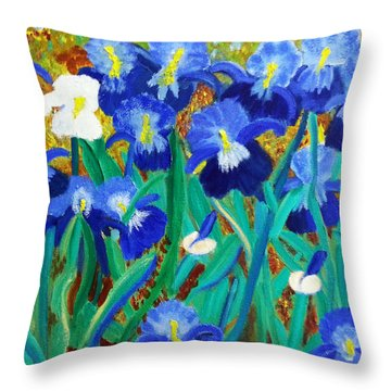 My Iris - Inspired  By Vangogh Throw Pillow