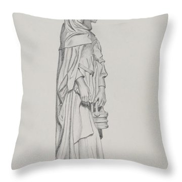 Throw Pillow featuring the drawing My Lady by Roena King
