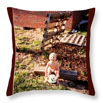Throw Pillow featuring the photograph My Lil Gardener by Kelly Awad