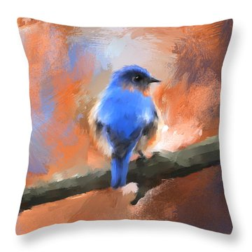 My Little Bluebird Throw Pillow