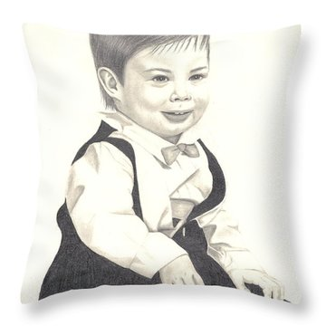Throw Pillow featuring the drawing My Little Boy by Patricia Hiltz