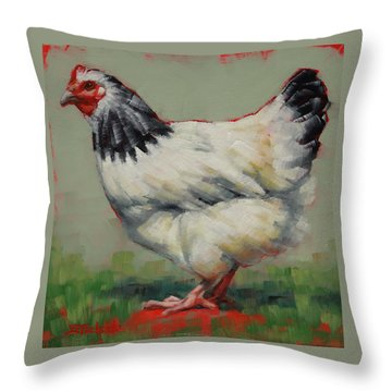 Light Sussex Hen Throw Pillow