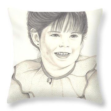 Throw Pillow featuring the drawing My Little Girl by Patricia Hiltz