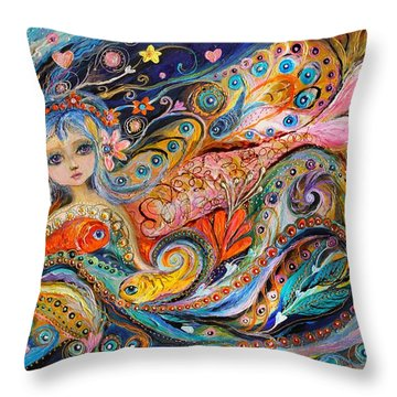 My Little Mermaid Lucille Throw Pillow by Elena Kotliarker
