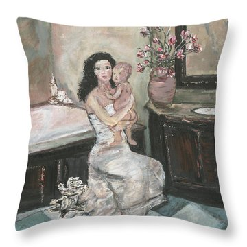 Throw Pillow featuring the painting My Little Soul by Helena Bebirian