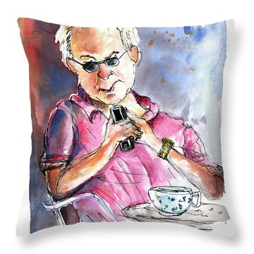 My Mobile And Me Throw Pillow by Miki De Goodaboom