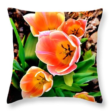 My Mom's Tulips Throw Pillow