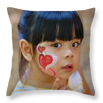 My Painted Face Throw Pillow by Kathleen Struckle