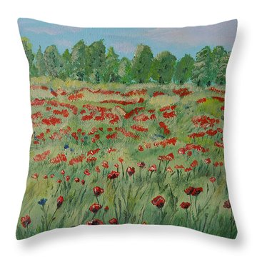 My Poppies Field Throw Pillow by Felicia Tica