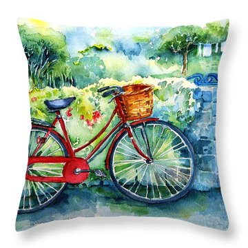 My Red Bicycle Throw Pillow