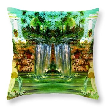 Throw Pillow featuring the painting My Rome by Denise Tomasura