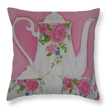 My Royal Doulton  English Rose Teaware Throw Pillow by Margaret Newcomb