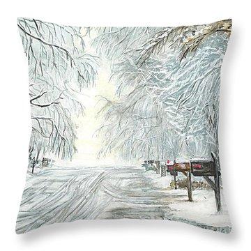 Throw Pillow featuring the painting My Slippery Street  by Carol Wisniewski