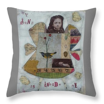 My Song Is Inside Me Throw Pillow by Casey Rasmussen White