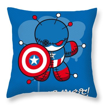 My Supercharged Voodoo Dolls Captain America Throw Pillow