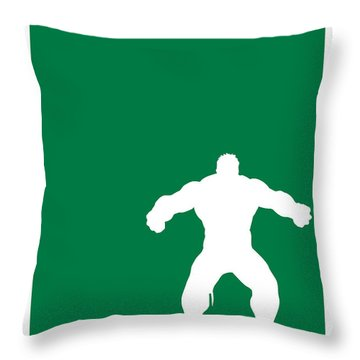 My Superhero 01 Angry Green Minimal Poster Throw Pillow
