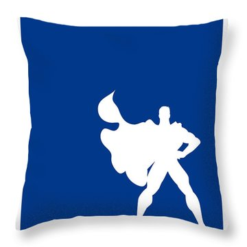 My Superhero 03 Super Blue Minimal Poster Throw Pillow