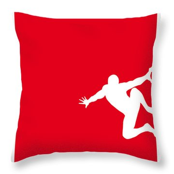My Superhero 04 Spider Red Minimal Poster Throw Pillow