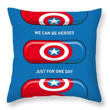 My Superhero Pills - Captain America Throw Pillow