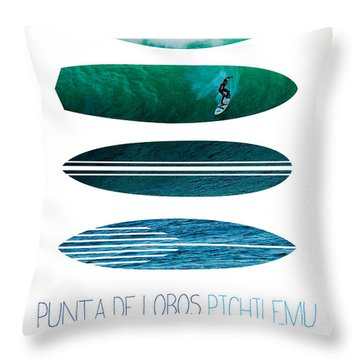 My Surfspots Poster-3-punta De Lobos-chile Throw Pillow