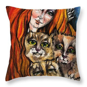 My Three Cats Throw Pillow by Angel  Tarantella