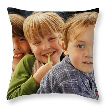 My Three Grandsons Throw Pillow