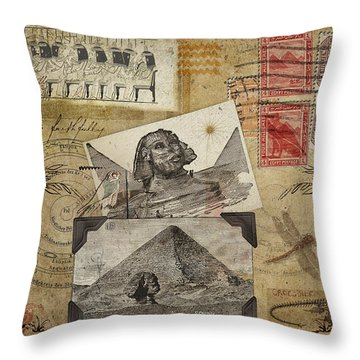 My Trip To Egypt 1914 Throw Pillow by Carol Leigh