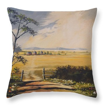 Throw Pillow featuring the painting My Way Home by Anthony Mwangi