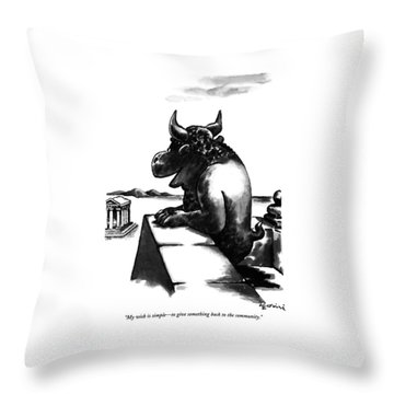My Wish Is Simple - To Give Something Back Throw Pillow by Eldon Dedini