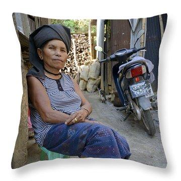 Myanmar Portrait Throw Pillow