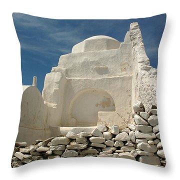 Throw Pillow featuring the photograph Mykonos Church by Vivian Christopher