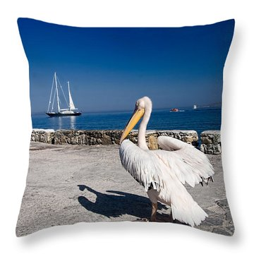Mykonos Pelican Throw Pillow