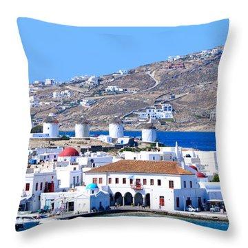 Mykonos Port Throw Pillow by Corinne Rhode