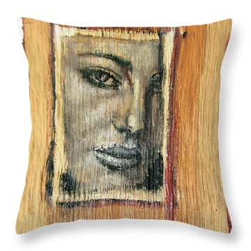 Mysterious Girl Face Portrait - Painting On The Wood Throw Pillow by Nenad Cerovic
