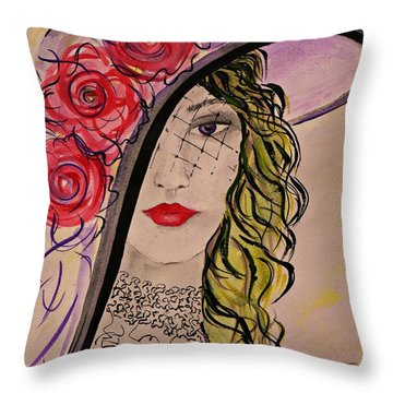 Throw Pillow featuring the painting Mysterious Lady by AmaS Art