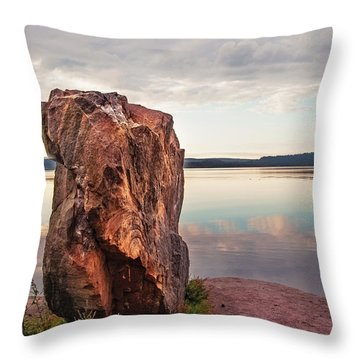 Mysterious Stone. Frontier In Between Old And New World Throw Pillow by Jenny Rainbow