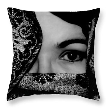 Mysterious Woman Throw Pillow
