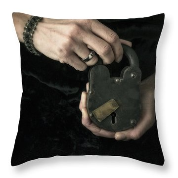 Mysterious Woman With Lock Throw Pillow