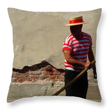 Throw Pillow featuring the photograph Mystery Gondolier by Ramona Johnston