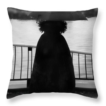 Throw Pillow featuring the photograph Lady At The Lake by Aaron Berg