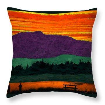 Mystery Mountain Throw Pillow by Richard Farrington