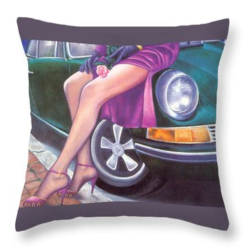 Mystery On Peter's Porsche Throw Pillow